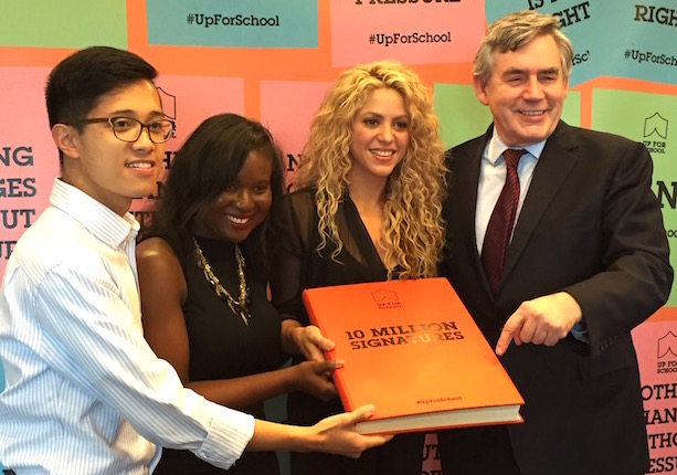 Benedict Joson with Shakira and Gordon Brown and the #UpForSchool Petition