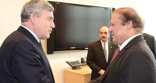 Pakistan Prime Minister Nawaz Sharif meets Gordon Brown