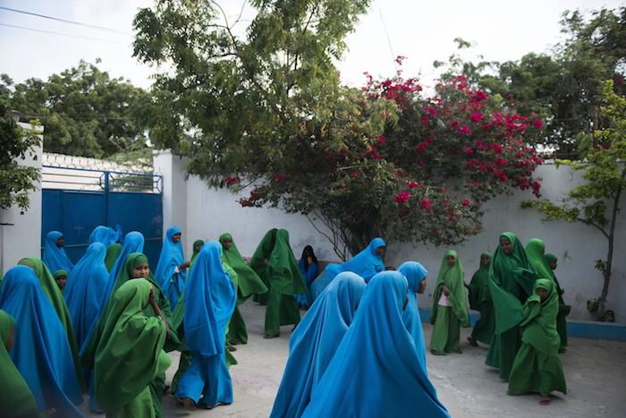 Girls at primary school lin Mogadishu, Somalia