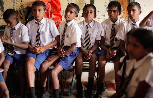 Children at a tea plantation school in Sri Lanka