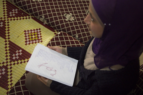 Syria's Young talent poet Khawla Hassan Ghaysaniya, picture by Tabitha Ross