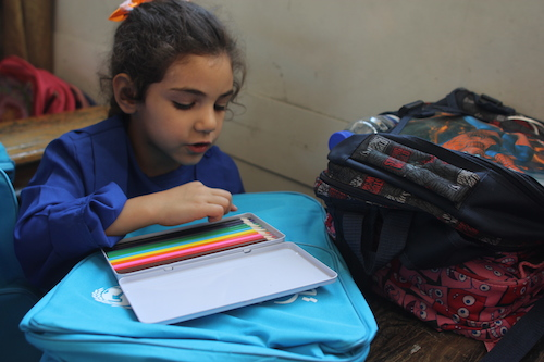 Syrian girl at school in Damascus. picture UNICEF