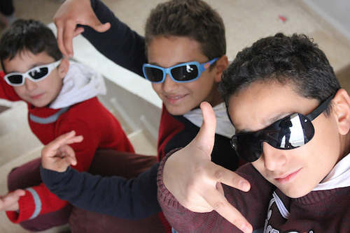 Syrian rapping brothers Mohammed Abdulrahman and Amir at Jarraheih Public School in Lebanon