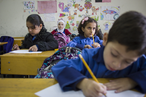 Syrian refugee children at school in Saida Lebanon