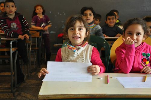 Syrian refugee children in Lebanon school