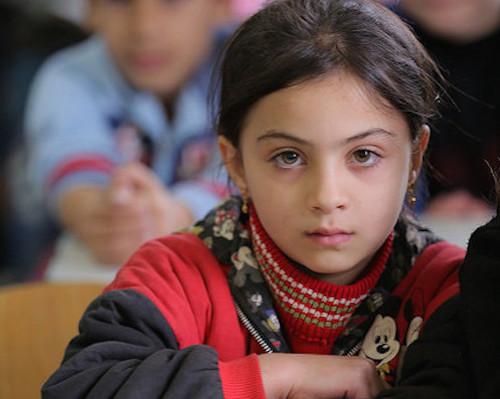 Syrian refugee girl in Lebanese classroom