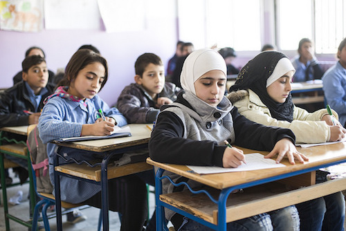 Syrian refugees at school in Bekaa Valley picture by Adam Petterson Panos DFID