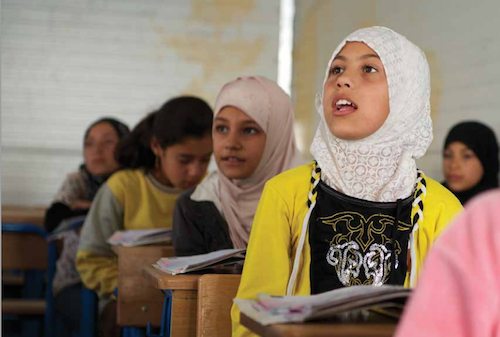 Syrian schoolgirls at school in Jordan picture by UNICEF