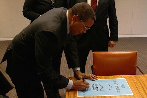 Tanzania President Jakaya Kikwete signs #UpForSchool Petition