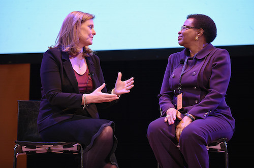 Town Hall Sarah Brown with Graca Machel picture by Getty Images for #UpForSchool