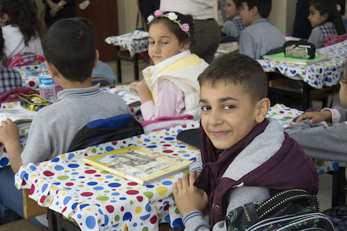 Turkish students and Syrian refugees are educated together at Istoc Primary School which was visited by Theirworld