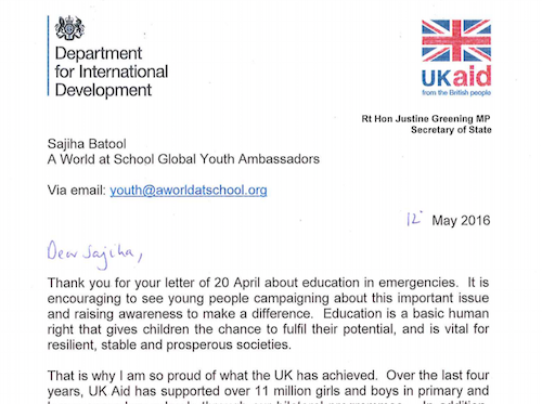 UK letter to GYAs about educationin emergencies fund