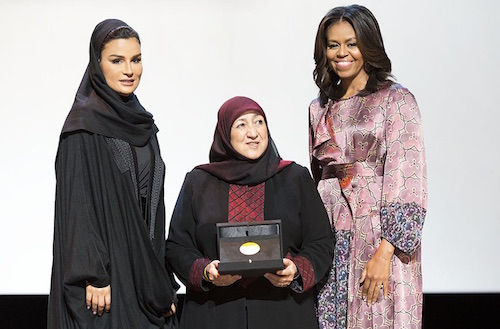 WISE Prize for Education winner Dr Sakeena Yacoobi with Sheikha Moza bint Nasser and Michelle Obama