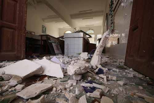 Yemen classroom destroyed in air strike picture UNICEF/Mahmoud