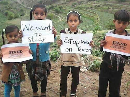 Yemeni children stand #UpForSchool