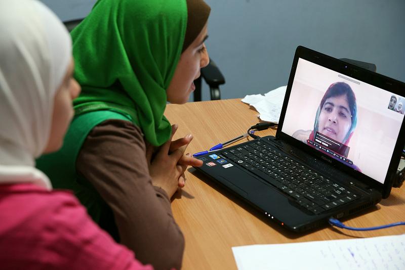 Malala Skypes with Syrian Refugee Girls