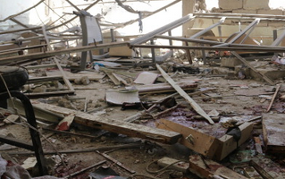 Wrecked school where 10 Syrian children died in airstrike